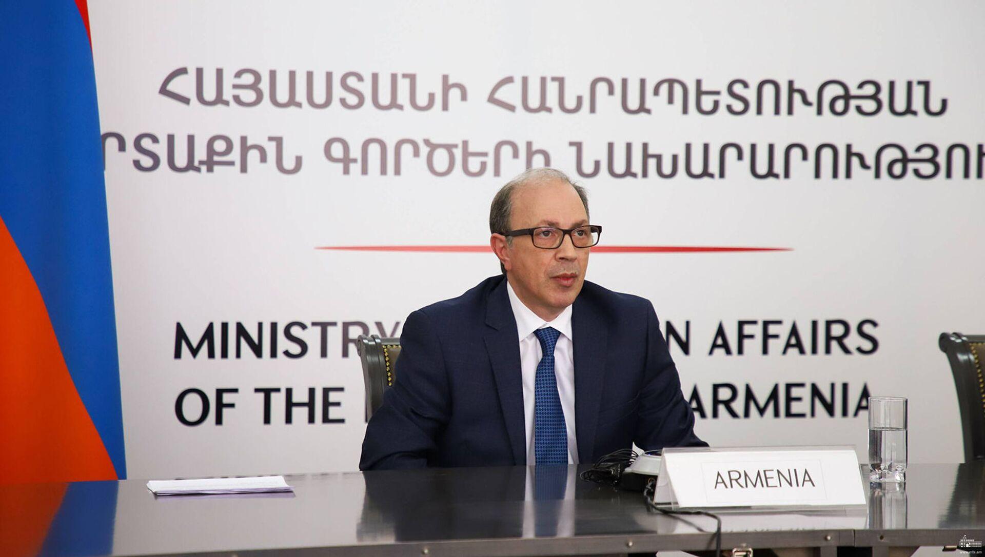 Министр иностранных дел Армении Ара Айвазян выступил с речью на форуме ОБСЕ (21 апреля 2021). Еревaн - Sputnik Армения, 1920, 19.05.2021