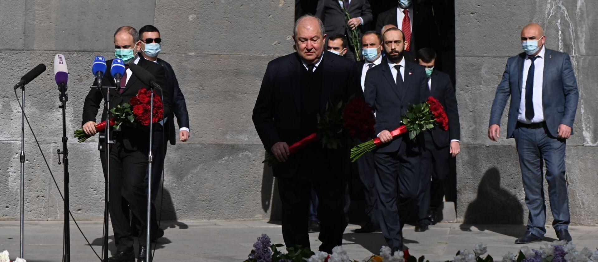 Армен Саркисян посетил мемориальный комплекс Цицернакаберд (24 апреля 2021). Ереван - Sputnik Армения, 1920, 30.04.2021