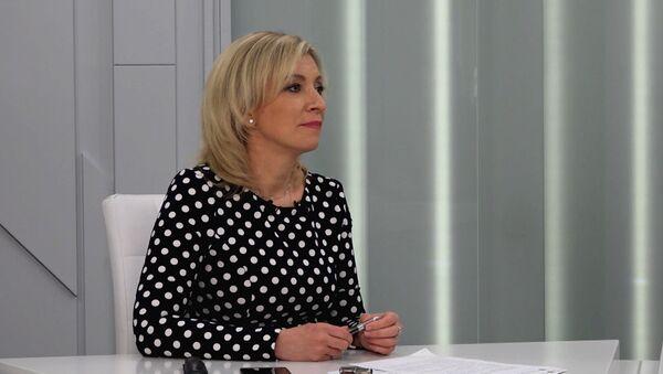 Мария Захарова во время большого интервью агенству Sputnik - Sputnik Армения
