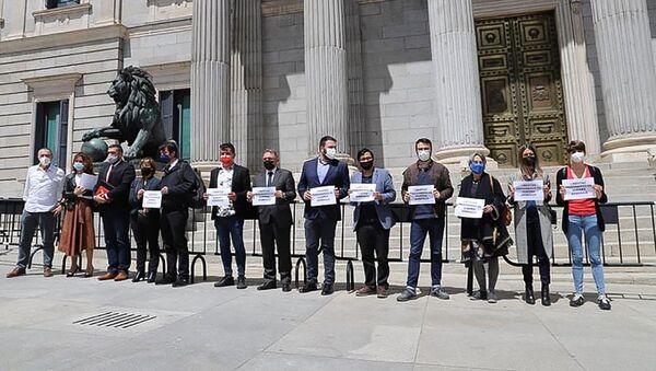 Группа испанских депутатов и сенаторов у центрального входа в Конгресс с плакатами требуют от Азербайджана освободить армянских военнопленных (11 мая 2021). Мадрид - Sputnik Армения