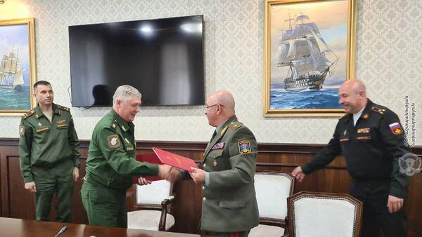 Делегация Генштаба ВС приняла участие во втором раунде переговоров по подготовке совместных с Россией стратегических военных учений «Запад-2021» (12 мая 2021). Еревaн - Sputnik Արմենիա