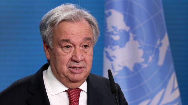 Генеральный секретарь ООН Антониу Гутерреш во время пресс-конференции (17 декабря 2020). Берлин - Sputnik Армения