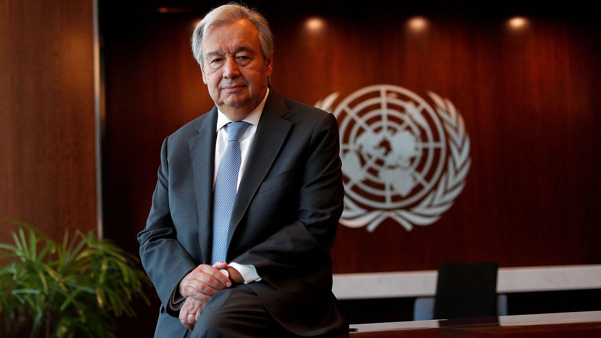 Генеральный секретарь ООН Антониу Гутерреш на фотосессии (19 апреля 2021). Нью-Йорк - Sputnik Армения, 1920, 27.09.2021