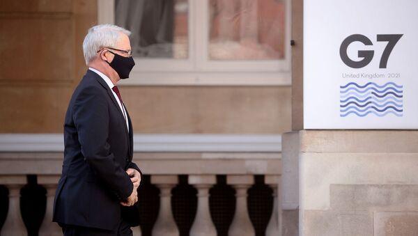 Министр иностранных дел Канады Марк Гарно прибывает на встречу глав МИД стран G7 (5 мая 2021). Лондон - Sputnik Армения