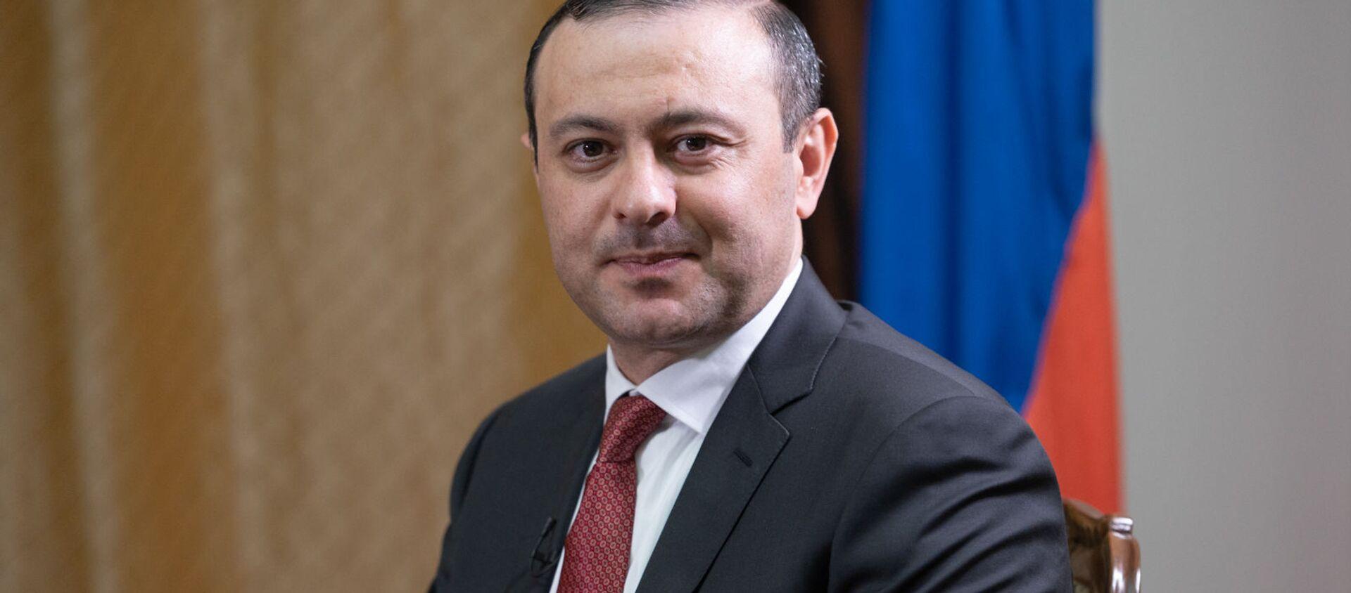 Секретарь Совета безопасности Армении Армен Григорян во время интервью агентству Sputnik Армения - Sputnik Армения, 1920, 06.07.2021