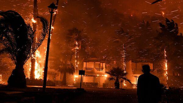 Местный житель среди горящих от лесного пожара домов в деревне Схинос (19 мая 2021). Греция - Sputnik Արմենիա