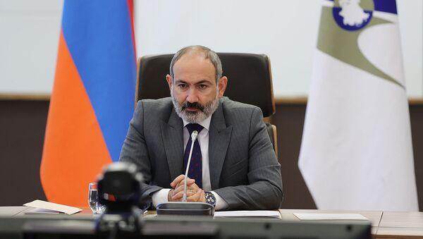 И.о. премьер-министра Никол Пашинян на заседании Высшего Евразийского экономического совета в режиме видеоконференции (21 мая 2021). Еревaн - Sputnik Армения