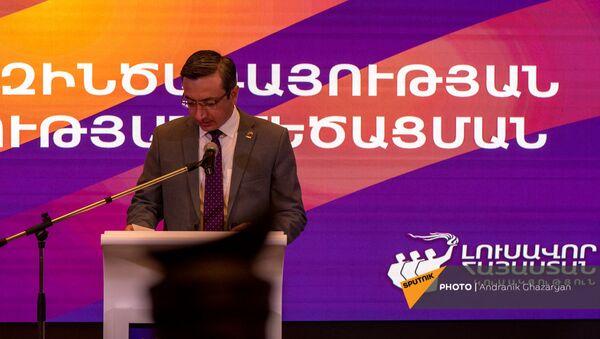 Выступление Геворга Горгисяна во время заседания партии Просвещенная Армения (23 мая 2021). Еревaн - Sputnik Արմենիա