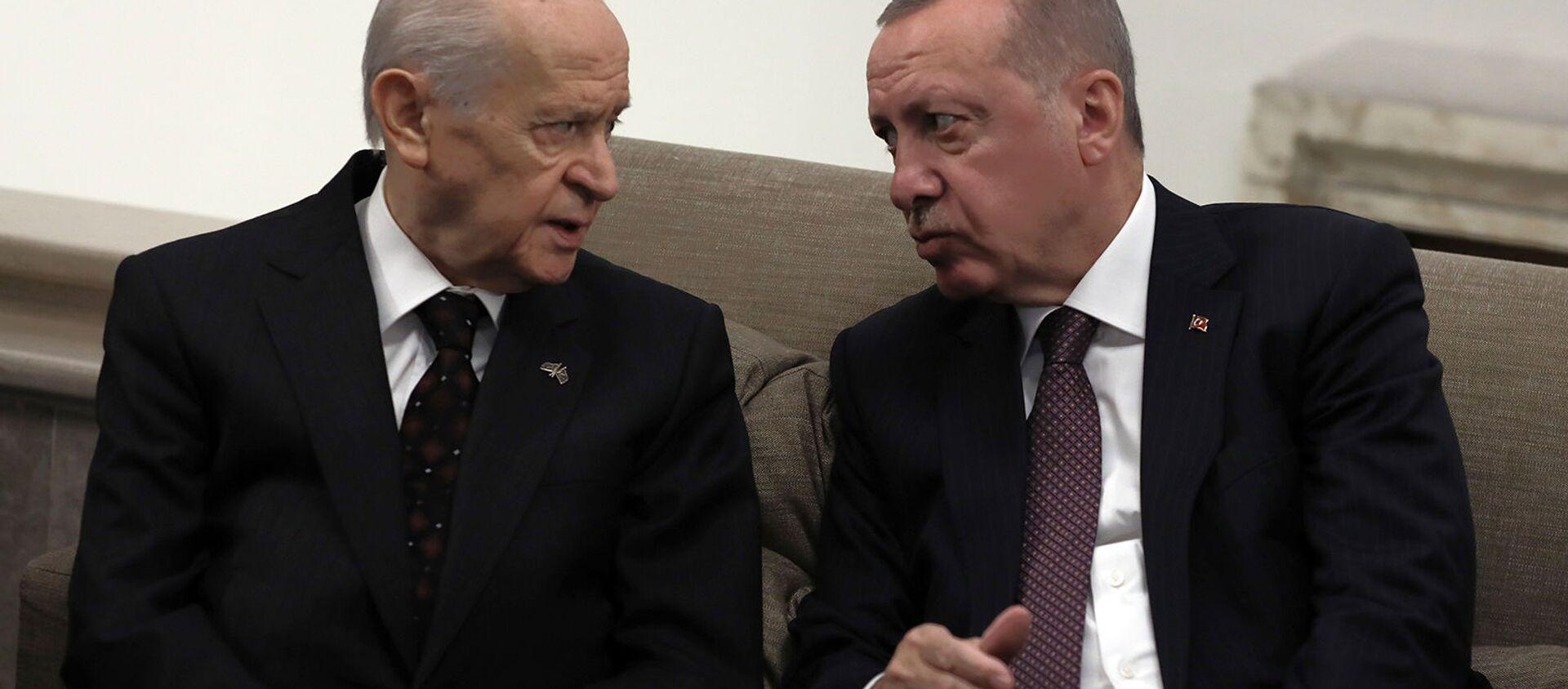 Президент Турции Реджеп Тайип Эрдоган беседует с лидером оппозиционной партии Националистического движения и своим главным политическим союзником Девлетом Бахчели (19 ноября 2019). Анкара - Sputnik Արմենիա, 1920, 29.05.2021