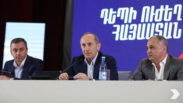 Лидеры блока Айастан на встрече с жителями Гегаркуникской области (4 июня 2021). Севан - Sputnik Արմենիա