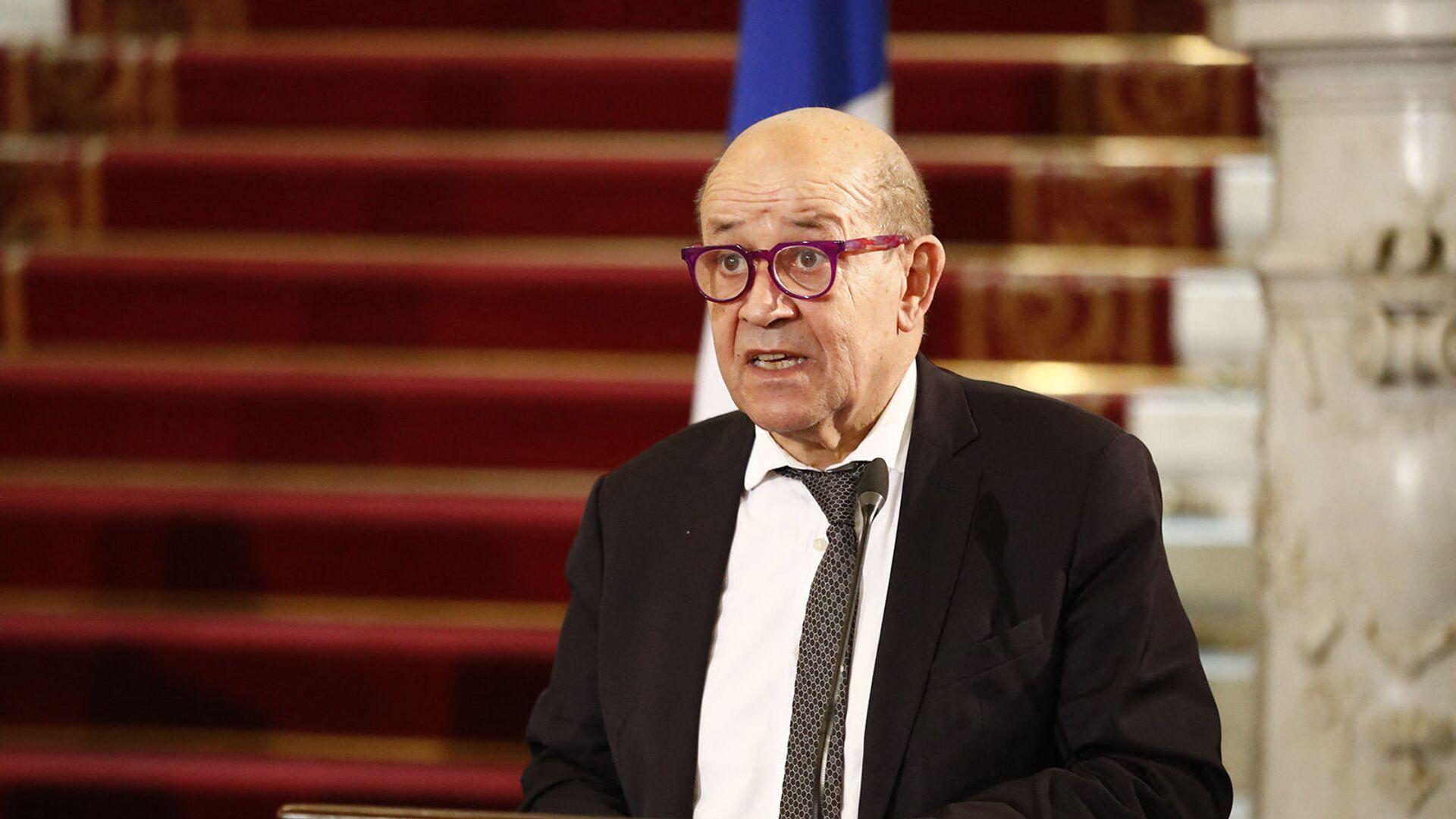 Министр иностранных дел Франции Жан-Ив Ле Дриан на совместной пресс-конференции со своими египетскими, немецкими и иорданскими коллегами после встречи (11 января 2021). Каир - Sputnik Армения, 1920, 17.09.2021