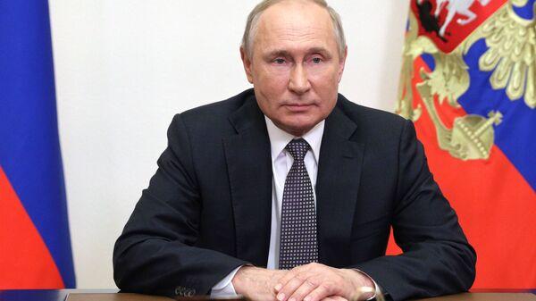 Президент РФ Владимир Путин выступил с обращением к участникам IX Московской конференции по международной безопасности (23 июня 2021). Москва - Sputnik Армения