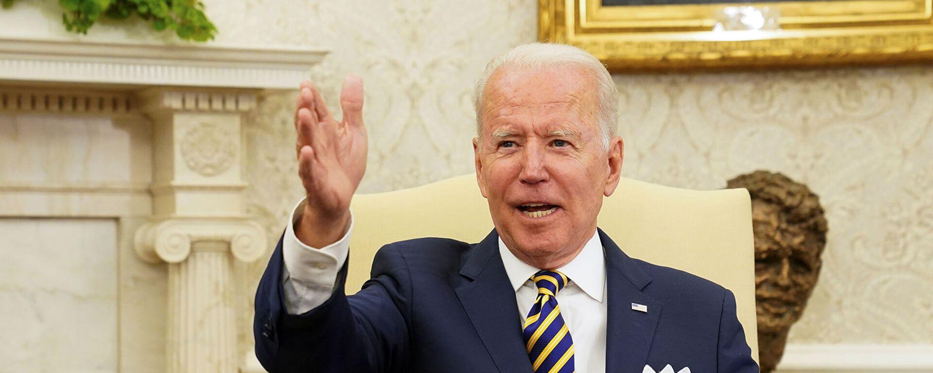 Президент США Джо Байден на встрече с президентом Израиля Реувеном Ривлином в Белом доме (28 июня 2021). Вашингтон - Sputnik Արմենիա, 1920, 18.09.2021