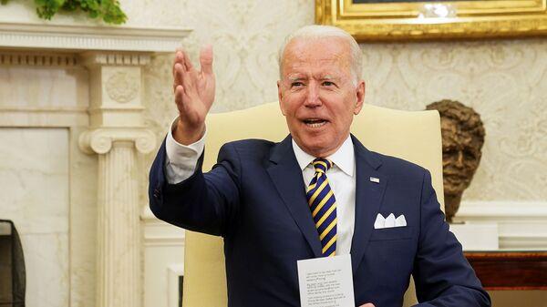 Президент США Джо Байден на встрече с президентом Израиля Реувеном Ривлином в Белом доме (28 июня 2021). Вашингтон - Sputnik Армения