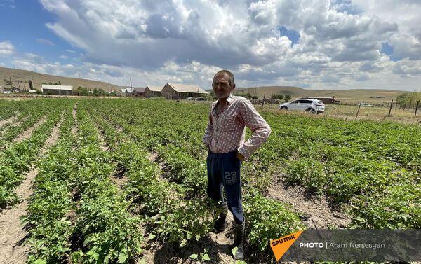 Житель села Бениамин в поле с засохшим урожаем - Sputnik Армения