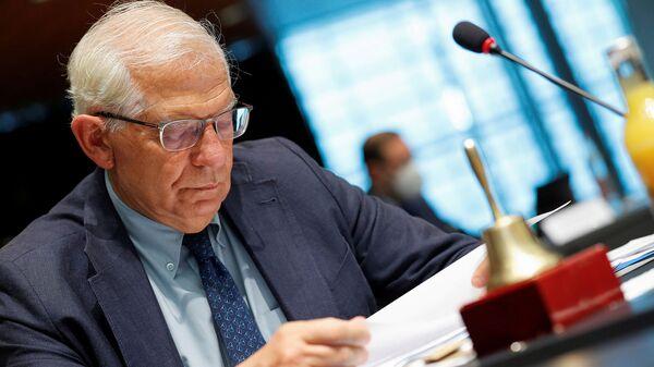 Глава внешнеполитического ведомства Европейского союза Жозеф Боррелл на встрече министров иностранных дел Европейского союза (21 июня 2021). Люксембург - Sputnik Армения