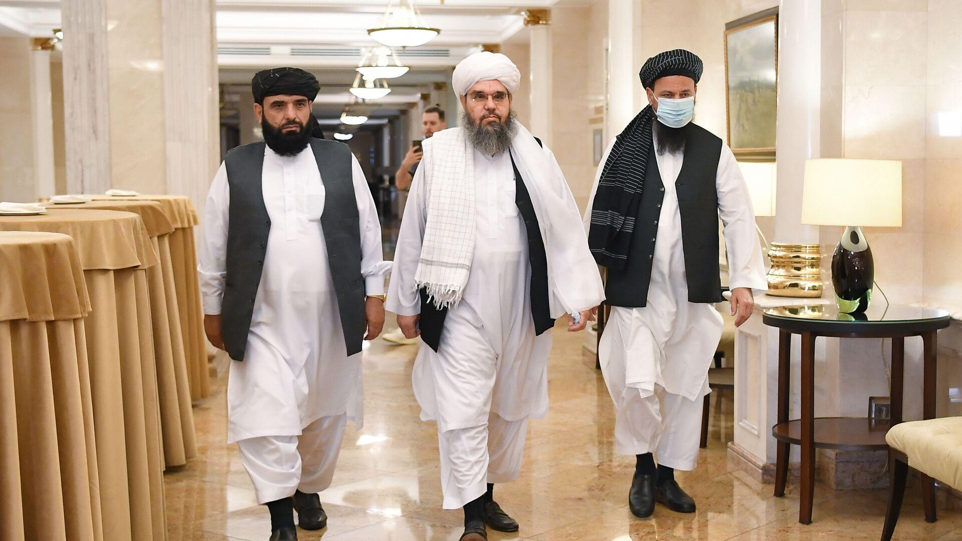 П/к делегации политического офиса движения Талибан (запрещено в РФ) в Москве - Sputnik Армения, 1920, 14.10.2021