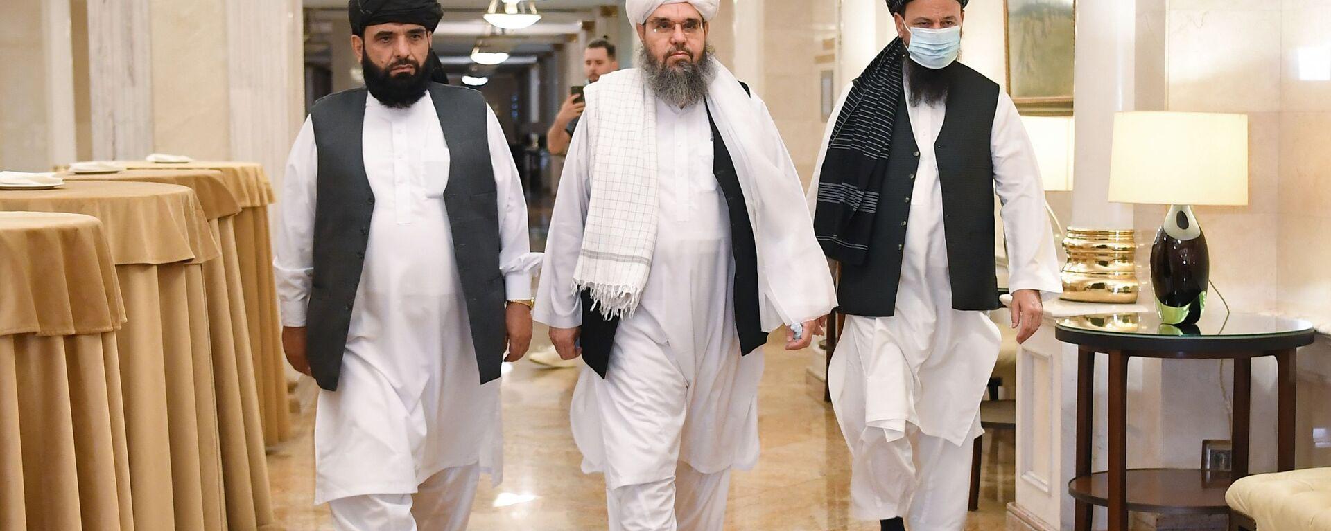 П/к делегации политического офиса движения Талибан (запрещено в РФ) в Москве - Sputnik Армения, 1920, 12.08.2021