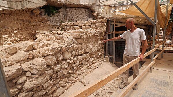 Израильский исследователь Филип Вукосавович показывает недостающий участок городской стены Иерусалима - Sputnik Армения