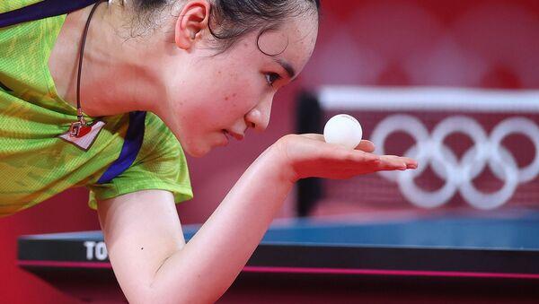 Японская теннисистка Мима Ито на тренировке по настольному теннису (19 июля 2021). Токио - Sputnik Армения