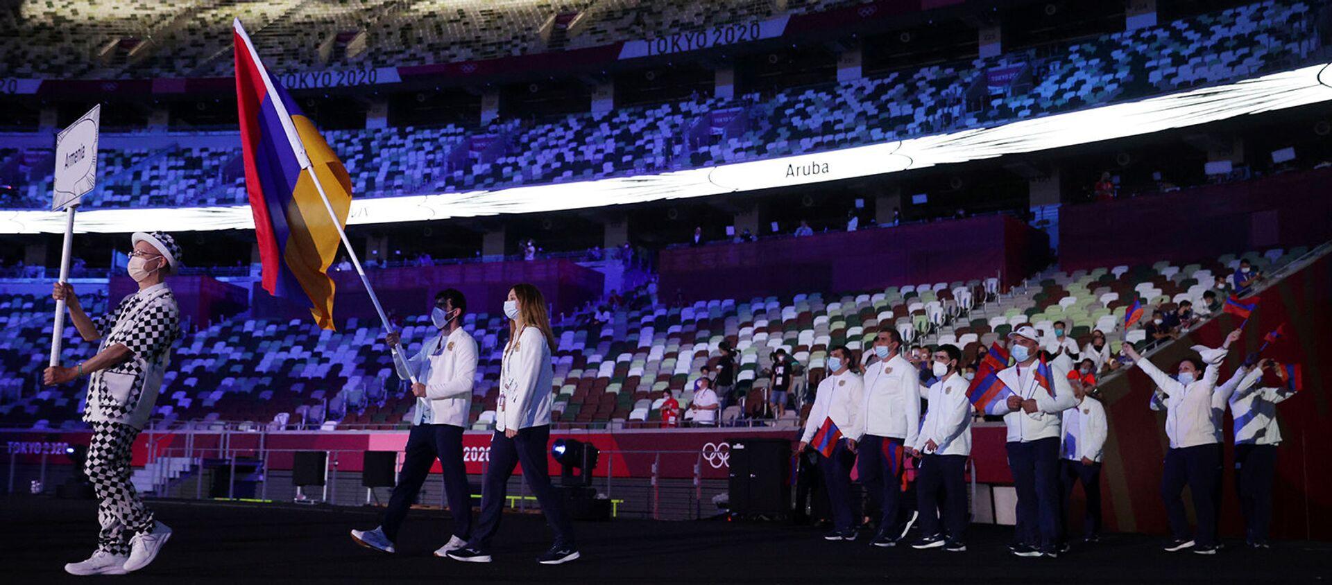 Армянские спортсмены на открытии Олимпийских игр в Токио - Sputnik Արմենիա, 1920, 23.07.2021