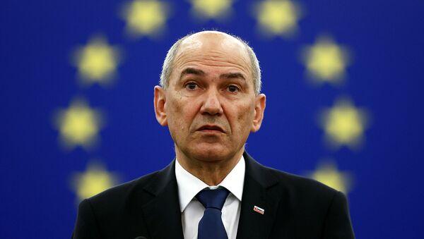 Премьер-министр Словении Янез Янса на пленарном заседании в Европейском парламенте (6 июля 2021). Страсбург - Sputnik Արմենիա