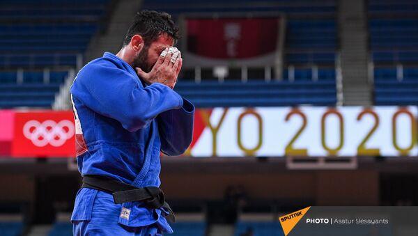 Фердинанд Карапетян (Армения) в поединке 1/16 финала по дзюдо на XXXII летней Олимпиаде (26 июля 2021). Токио - Sputnik Արմենիա