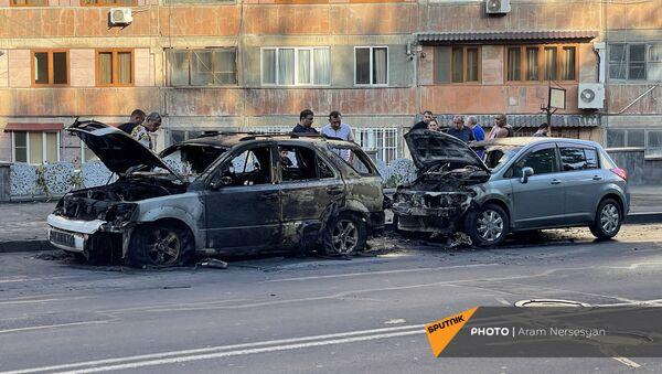 Сгоревшие машины на улице Сарьяна - Sputnik Արմենիա