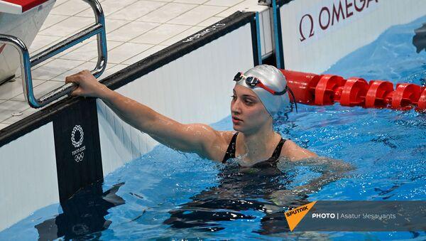 Варсеник Манучарян после заплыва на 100 метров фристайлом среди женщин на XXXII летних Олимпийских играх (28 июля 2021). Токио - Sputnik Армения