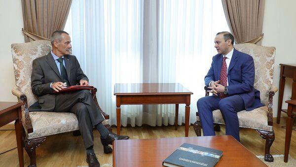 Встреча и.о. министра иностранных дел Армена Григоряна с руководителем делегации МККК в Армении Тьери Рибоном (30 июля 2021). Еревaн - Sputnik Армения