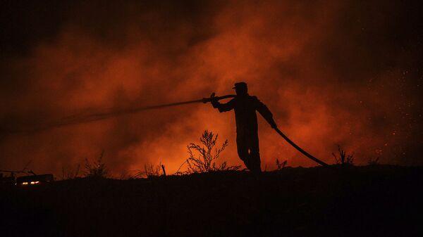 Пожарный ведет бой с пожаром в деревне Кирли недалеко от города Манавгат (30 июля 2021). Турция - Sputnik Армения