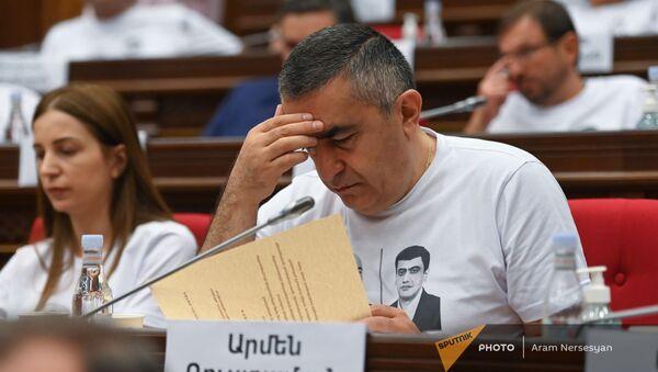 Армен Рустамян во время первого заседания парламента Армении 8-го созыва (2 августа 2021). Еревaн - Sputnik Արմենիա