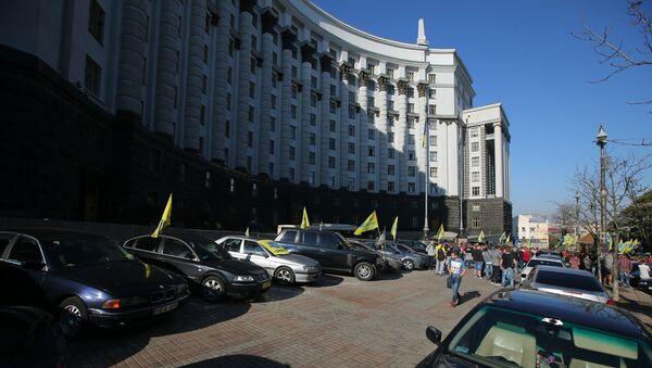 Акция владельцев автомобилей с европейскими номерами в Киеве - Sputnik Армения