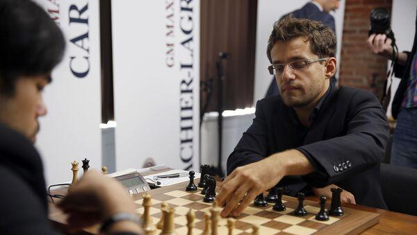 Левон Аронян во время 1-го тура 4-го турнира Большого шлема по шахматам в парке Ибирапуэра в Сан-Паулу - Sputnik Արմենիա