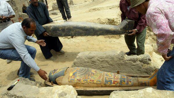 Археологи держат деревянный гроб с ярко окрашенной и позолоченной мумией во время раскопок в Саккаре - Sputnik Армения