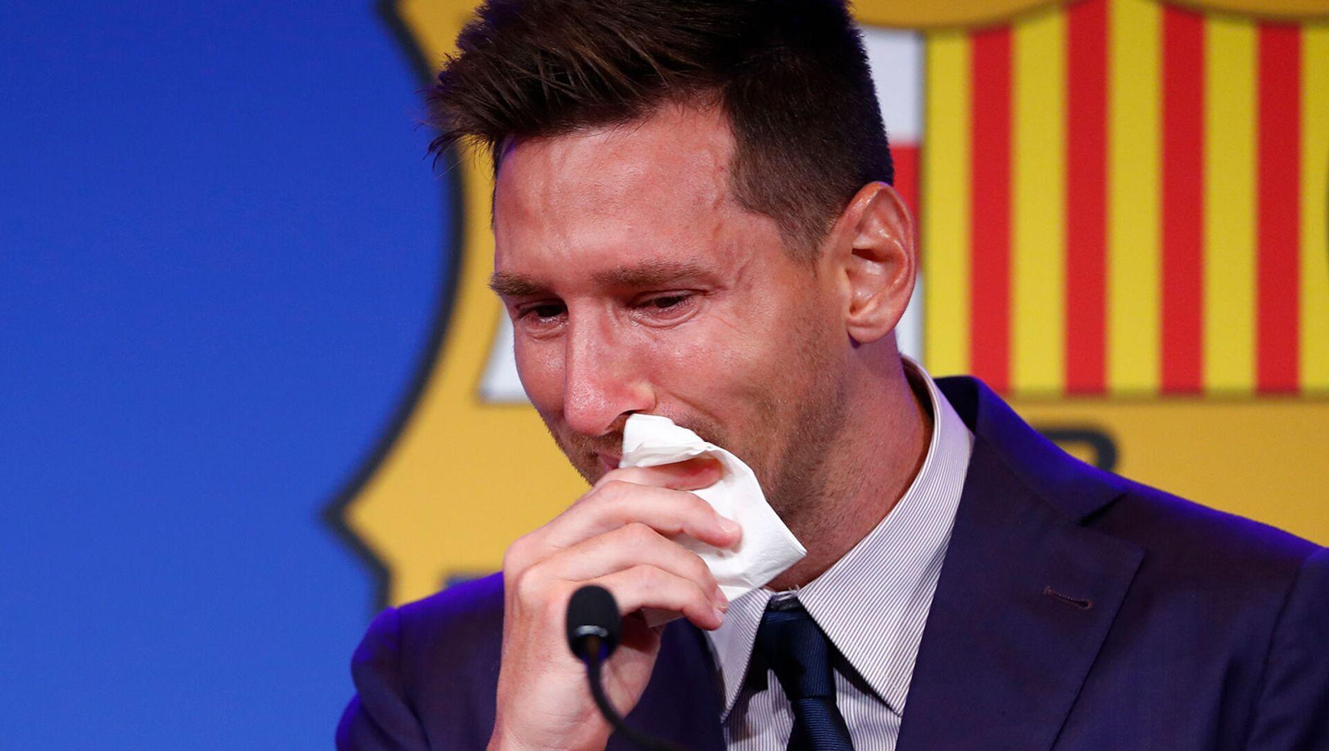Лионель Месси на пресс-конференции на стадионе Камп Ноу (8 августа 2021). Барселона - Sputnik Արմենիա, 1920, 13.08.2021