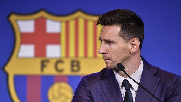 Лионель Месси на пресс-конференции на стадионе Камп Ноу (8 августа 2021). Барселона - Sputnik Արմենիա