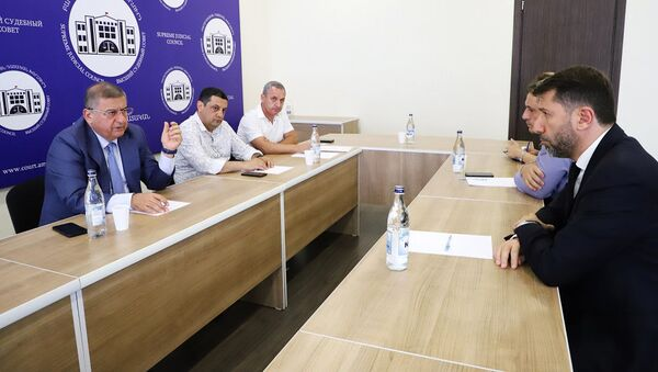 И.о. председателя Высшего Судебного Совета Армении Гагик Джангирян встретился с министром юстиции Кареном Андреасяном (10 августа 2021). Еревaн - Sputnik Արմենիա
