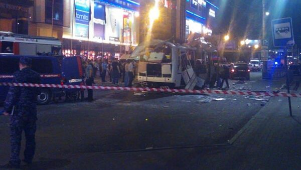 Место взрыва пассажирского автобуса на остановке у перекрестка улиц Плехановская и Кольцовская (12 августа 2021). Воронеж - Sputnik Армения
