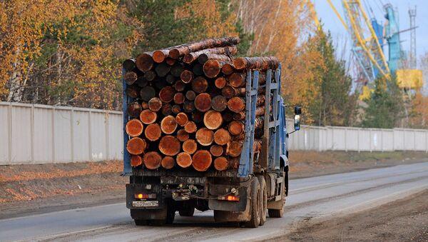 Лесовоз, гружёный необработанной древесиной - Sputnik Արմենիա