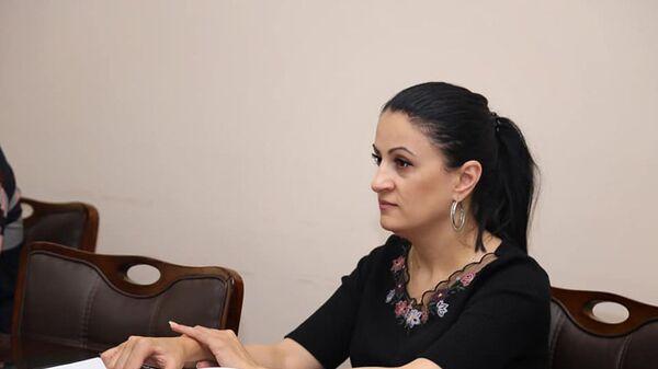 Заместитель главы Гориса Ирина Йолян на встрече с представителями отделов образования и защиты детей ЮНИСЕФ (3 июля 2021). Горис - Sputnik Արմենիա