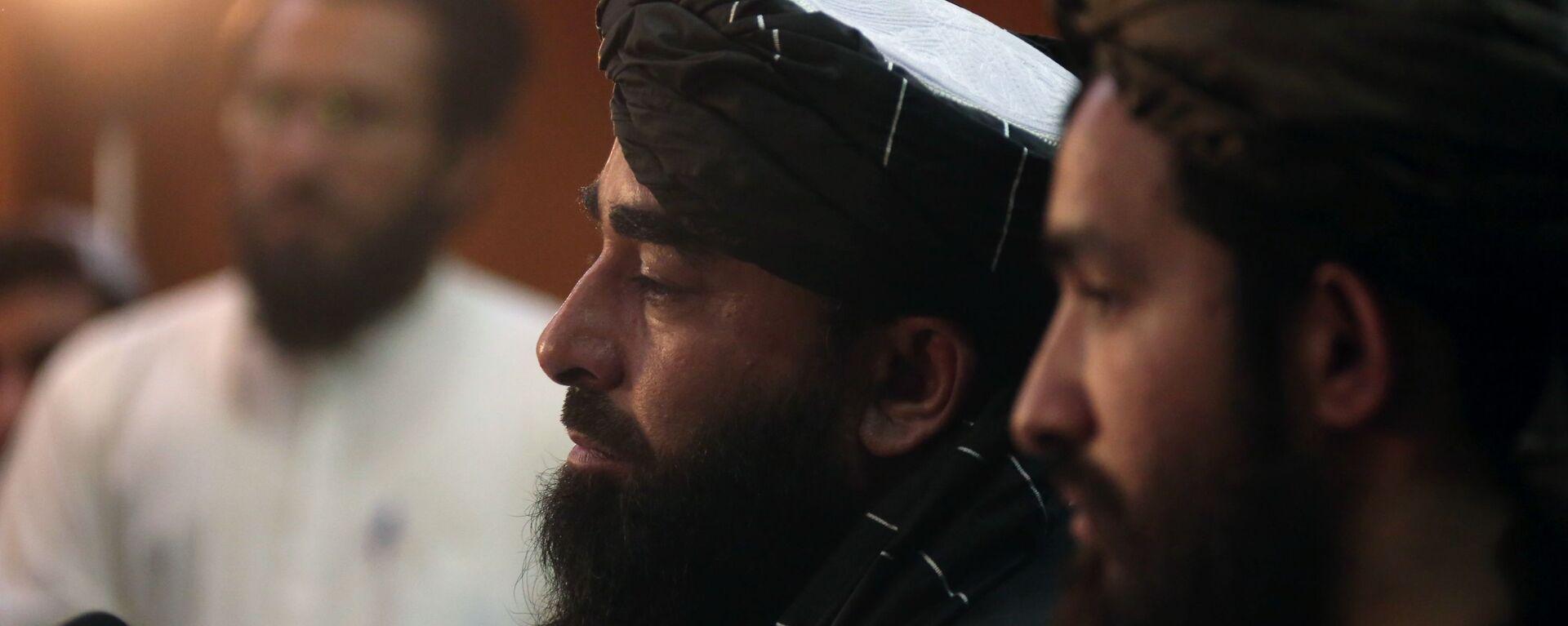 Представитель движения Талибан Забиулла Муджахид во время пресс-конференции в Кабуле (17 августа 2021). Афганистан - Sputnik Армения, 1920, 05.09.2021
