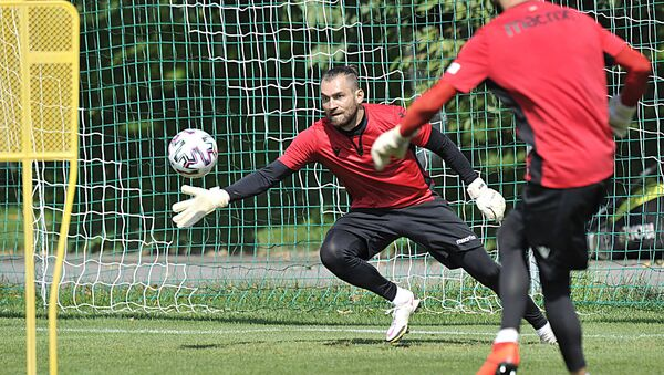 Последняя тренировка сборной Армении по футболу перед поездкой в Северную Македонию (29 августа 2021). Еревaн - Sputnik Армения