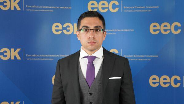 Замдиректора департамента функционирования внутренних рынков ЕЭК Нарек Овакимян - Sputnik Արմենիա