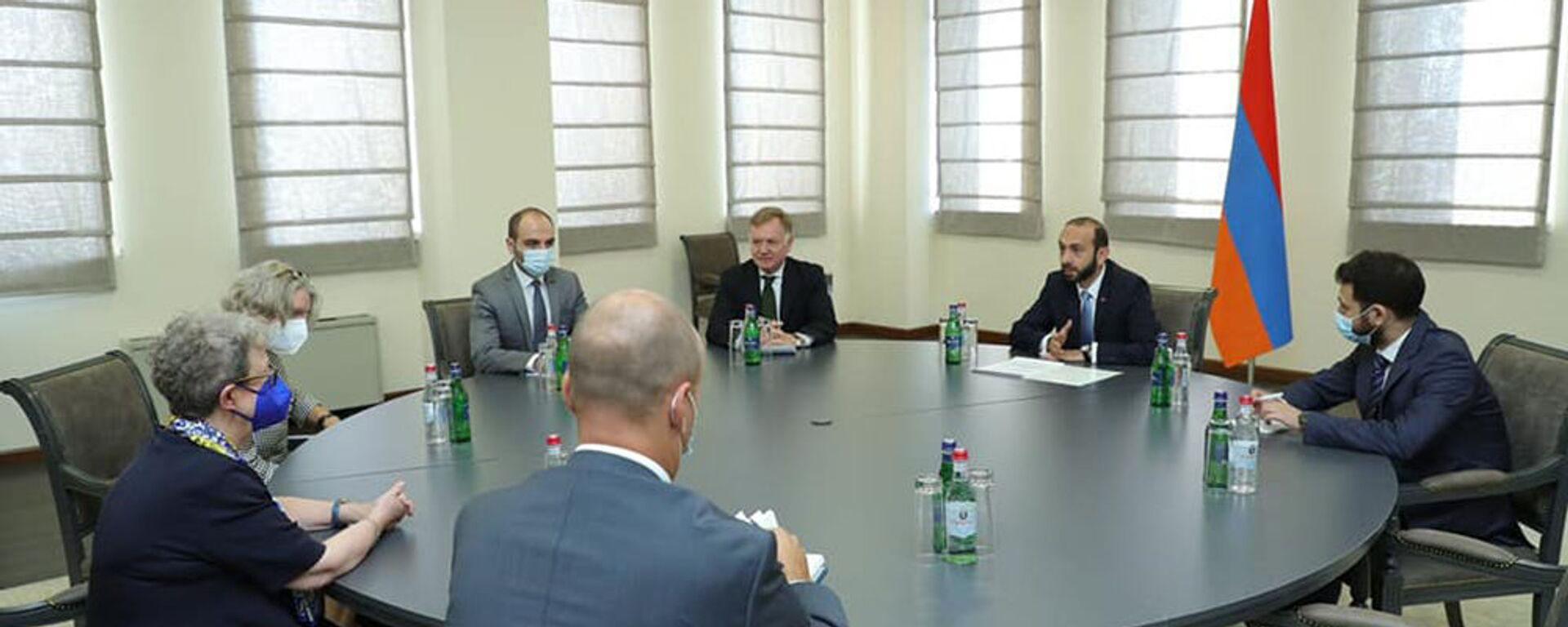 Министр иностранных дел Арарат Мирзоян принял делегацию ЕС в Армении (7 сентября 2021). Еревaн - Sputnik Армения, 1920, 07.09.2021