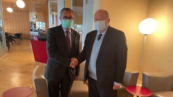Президент Армен Саркисян встретился с гендиректором ВОЗ Тедросом Адханом Гебрейусусом )16 сентября 2021). Женева - Sputnik Армения