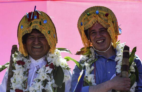 Բոլիվիայի նախկին նախագահ Էվո Մորալեսը (ձախից) և փոխնախագահ Ալվարո Գարսիա Լիները - Sputnik Արմենիա