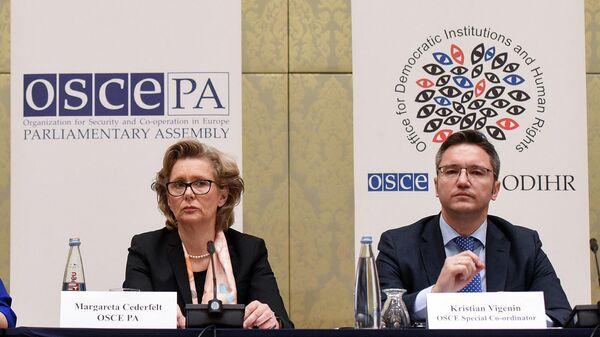 Вице-президент ПА ОБСЕ Маргарета Седерфельт и специальный координатор ОБСЕ Кристиан Вигенин дают пресс-конференцию (29 ноября 2018). Тбилиси - Sputnik Армения