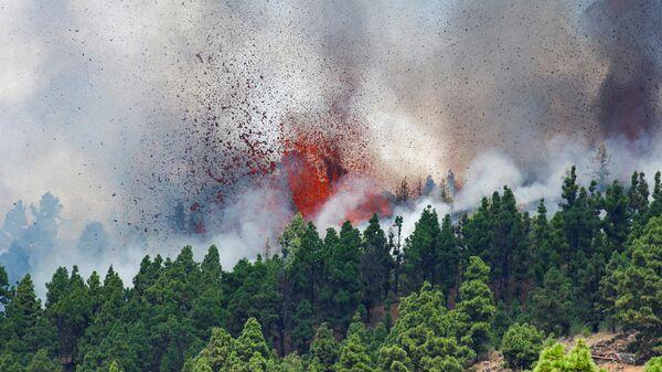 Лава и дым от извержения вулкана в национальном парке Кумбре-Вьеха, на Канарском острове Ла-Пальма (19 сентября 2021). Эль-Пасо - Sputnik Армения