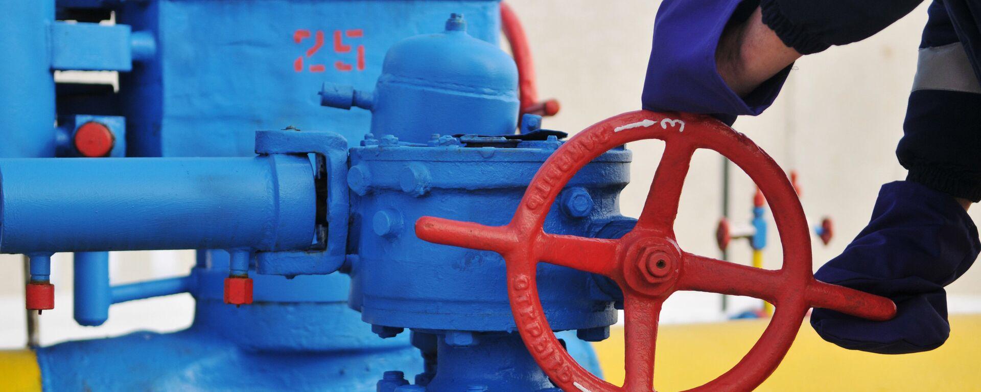 Вентиль на трубопроводе газораспределительной станции Нежухив  - Sputnik Армения, 1920, 21.09.2021